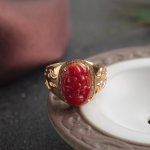 18K阿卡牛血红珊瑚貔貅戒指