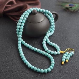 高瓷铁线蓝绿绿松石桶珠多圈手串