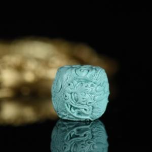 高瓷蓝色绿松石龙珠桶珠配件