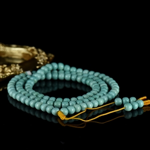 中高瓷蓝色绿松石老形珠108佛珠