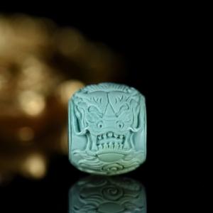 中高瓷蓝绿色绿松石龙桶珠配件
