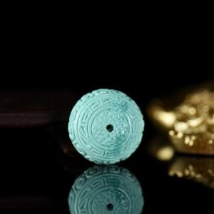中高瓷蓝色绿松石回纹珠鼓珠配件