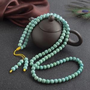 高瓷铁线蓝绿绿松石桶珠108佛珠
