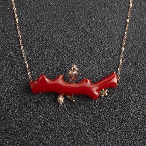 18K阿卡牛血红珊瑚圆树枝项链