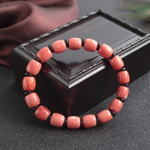 MOMO珊瑚桶珠单圈手串