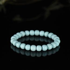 中高瓷蓝色绿松石老形珠单圈手串