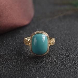 18K高瓷蓝绿松石方形戒指