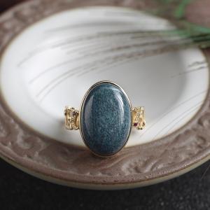 18K高瓷乌兰花蓝绿松石戒指