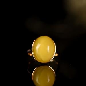 18K鸡油黄蜜蜡戒指