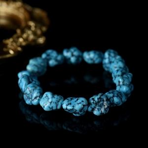 高瓷蓝色铁线绿松石原石单圈手串
