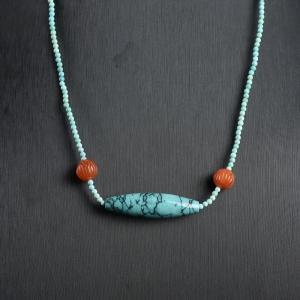 中高瓷蓝色绿松石天珠锁骨链