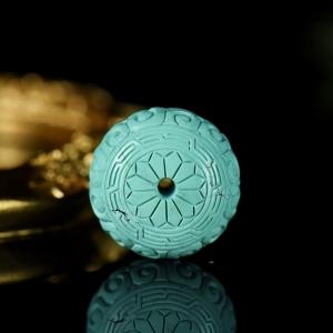 中高瓷蓝色绿松石回纹鼓珠配件