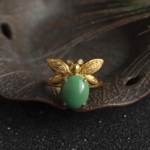 18K高瓷绿色绿松石蜜蜂戒指