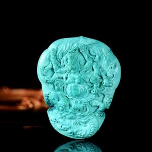高瓷蓝色绿松石财宝天王吊坠