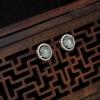 银镶天然缅甸翡翠耳钉-红掌柜