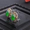 缅甸天然冰种阳绿翡翠耳环-红掌柜