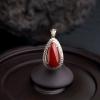 18K金镶钻日本天然阿卡正红珊瑚吊坠-红掌柜
