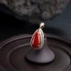 18K金镶钻天然阿卡正红珊瑚吊坠-红掌柜