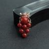 18K金镶钻日本天然阿卡正红珊瑚葡萄吊坠-红掌柜