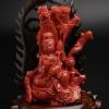 日本阿卡正红珊瑚观音摆件 - 红掌柜