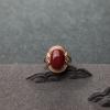 18K金鑲鉆阿卡深紅珊瑚戒指-紅掌柜