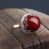 日本天然阿卡黑红珊瑚戒指-红掌柜