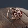 18K金镶钻日本阿卡黑红珊瑚戒指-红掌柜