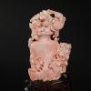 深水粉色珊瑚鏤雕花瓶擺件-紅掌柜