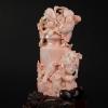 天然粉色珊瑚鏤雕花瓶擺件-紅掌柜