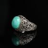 天然银镶高瓷蓝绿松石戒指-红掌柜