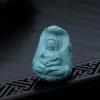 天然高瓷蓝绿绿松石蛇王护法吊坠-红掌柜