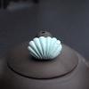 天然中瓷铁线浅蓝绿松石贝壳吊坠-红掌柜