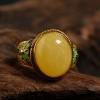银镶鸡油黄蜜蜡戒指-红掌柜