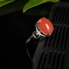银镶川料樱桃红南红戒指-红掌柜