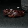 印度半星鸡血红小叶紫檀龙龟摆件-红掌柜