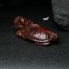 印度天然鸡血红小叶紫檀龙龟摆件-红掌柜