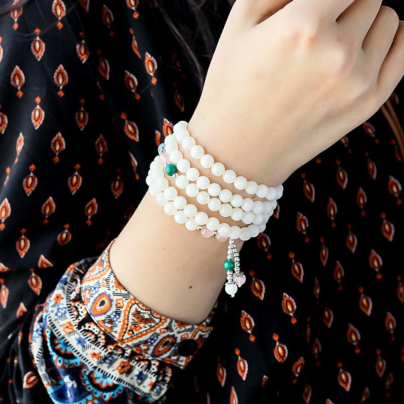 玉化砗磲108念珠 - 红掌柜珠宝