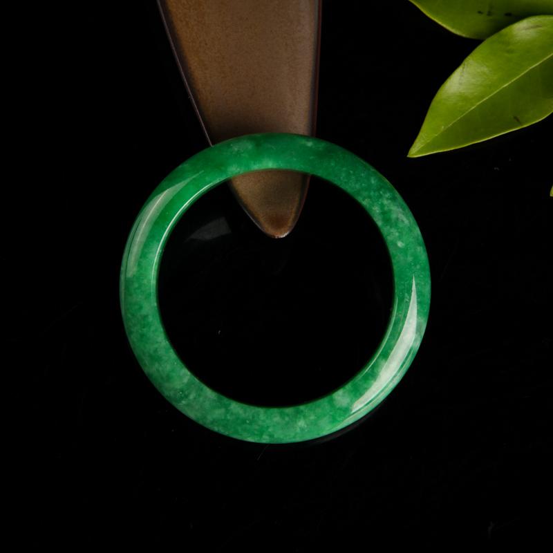 豆种翠绿翡翠手镯-红掌柜