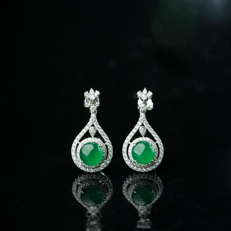 緬甸天然冰種陽綠翡翠耳墜-紅掌柜