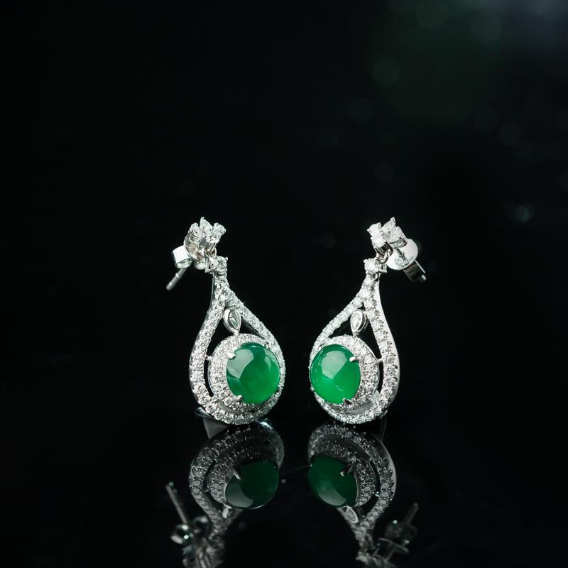 緬甸冰種陽綠翡翠耳墜-紅掌柜