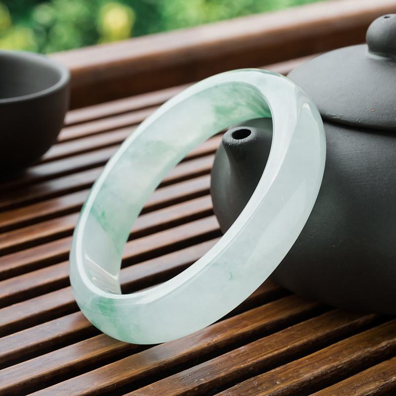 蓝飘虫_【翡翠平安镯|飘翠翡翠平安镯|54.5mm冰种翡翠平安镯】-红掌柜珠宝