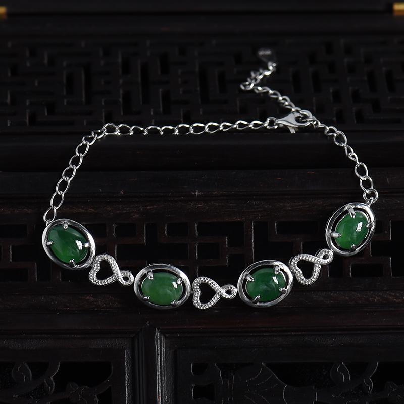 缅甸天然银镶细糯翡翠手链-红掌柜