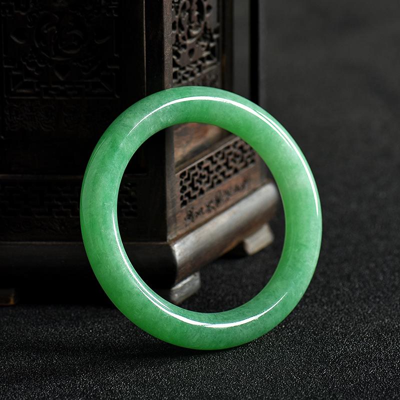 缅甸天然糯种翠绿翡翠手镯-红掌柜
