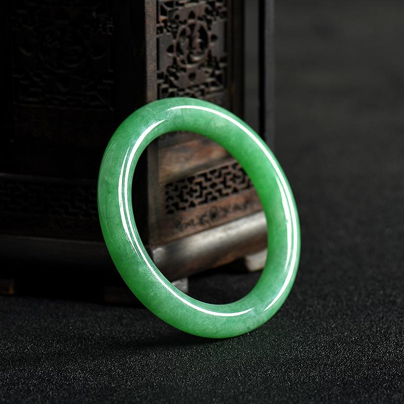 缅甸糯种翠绿翡翠手镯-红掌柜