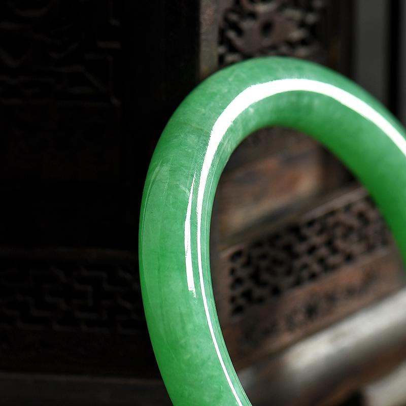 缅甸天然糯种翡翠手镯-红掌柜