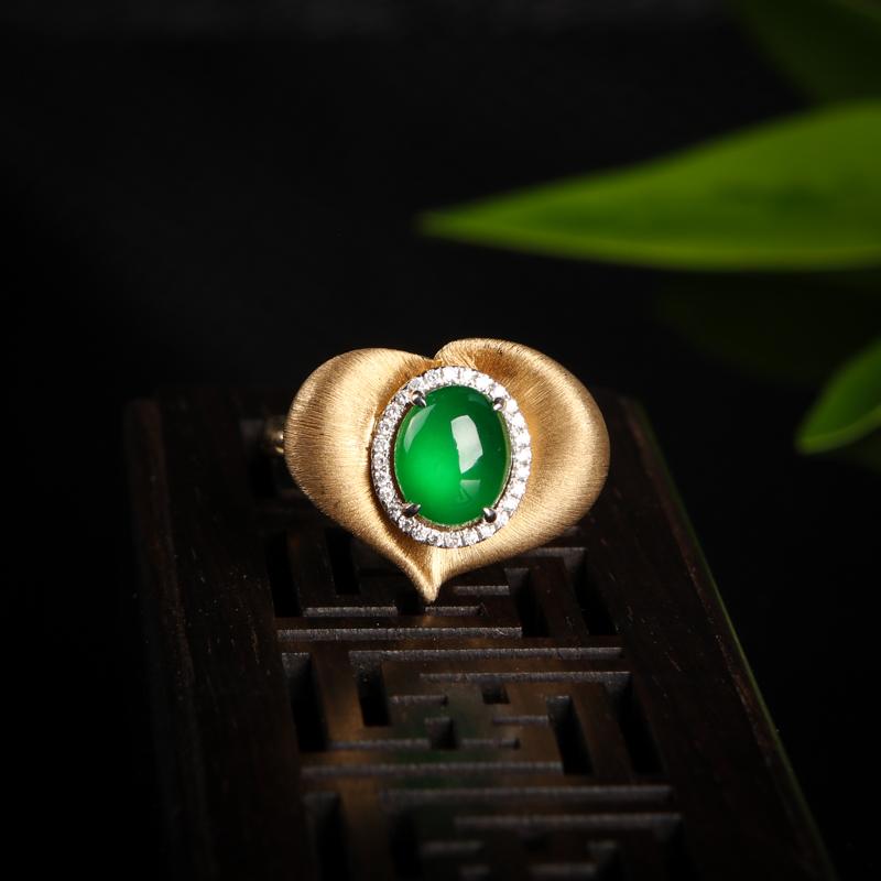 18K高冰种翠绿翡翠戒指-红掌柜
