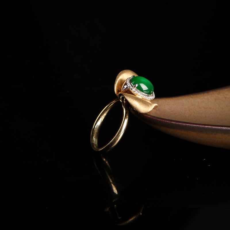 翠绿翡翠戒指-红掌柜