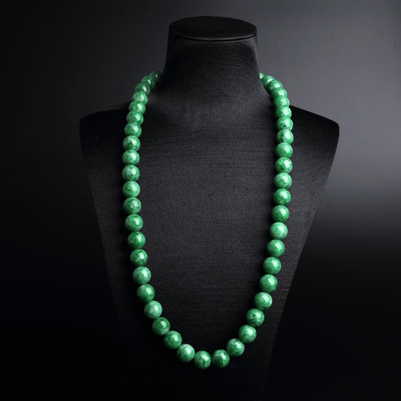 缅甸A货天然糯种满绿翡翠圆珠项链 - 红掌柜