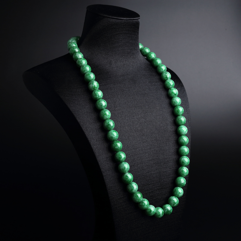 A货天然糯种满绿翡翠圆珠项链 - 红掌柜