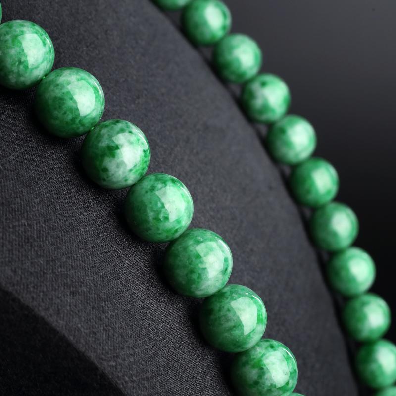 满绿翡翠圆珠项链 - 红掌柜